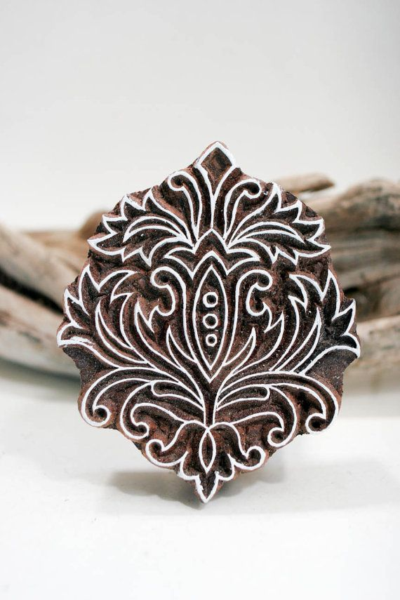 Hand carved wood textile india block stamp by TATAindianwoodstamps, $31.00