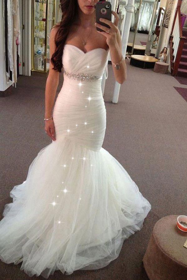 Sweetheart Mermaid Wedding Dresses Bridal Gown Waist with Beaded