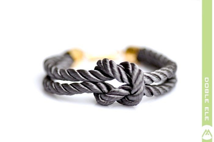 Square Knot Silk Rope Bracelet  Gray by DobleEle on Etsy, $15.00