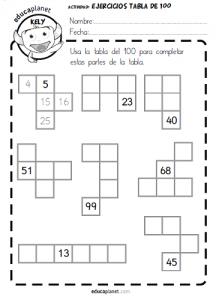 tabla del 100 -fichas GRATIS y ejercicios números | Educación ...