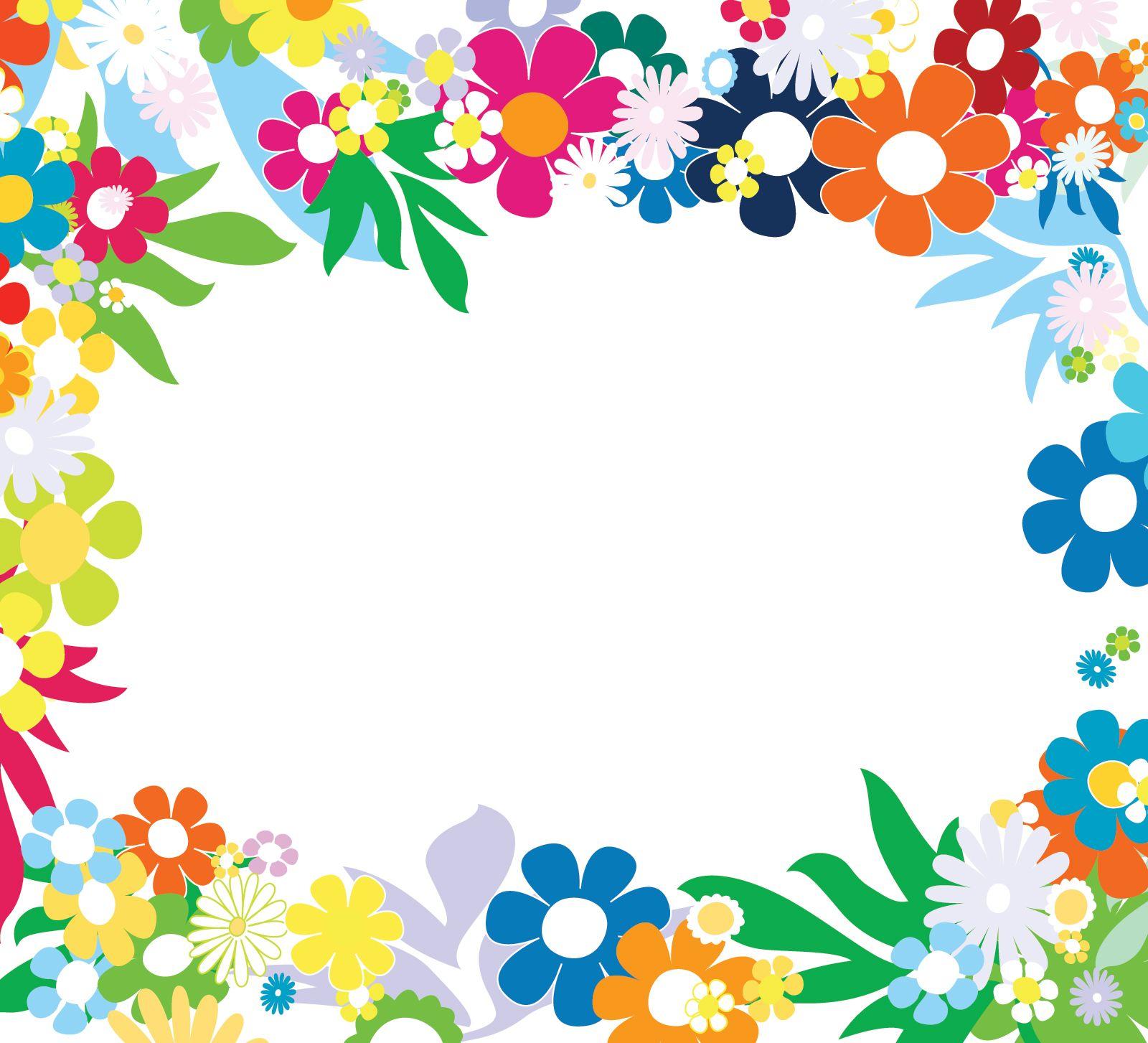 Floral Colorful Frames | Flower frame, Flower template, Flower border