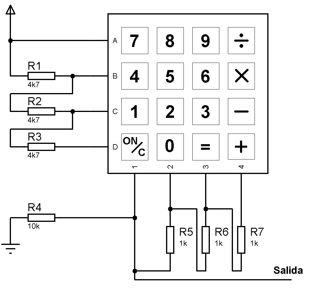 keypad 4x4 en una sola conexi n 4x4 electronic engineering circuit diagram arduino  [ 1071 x 1002 Pixel ]