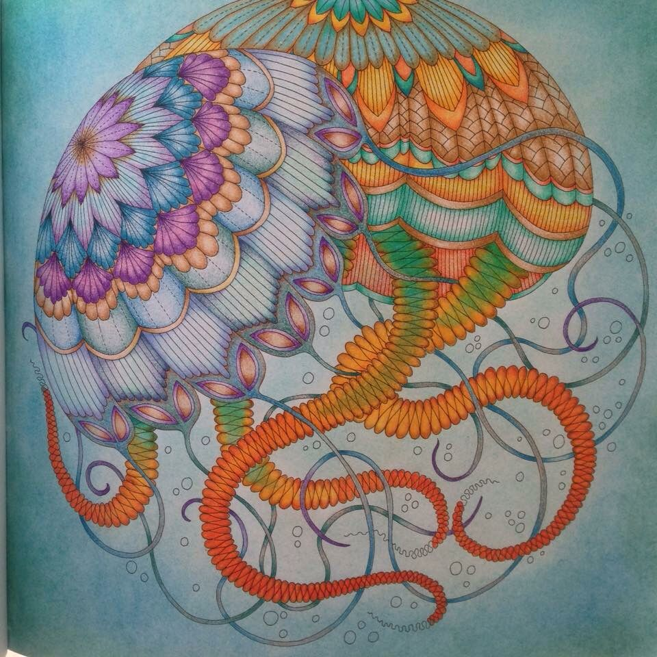 Jellyfish Millie Marottas Tropical Wonderland Dine With Muji Color Pencils
