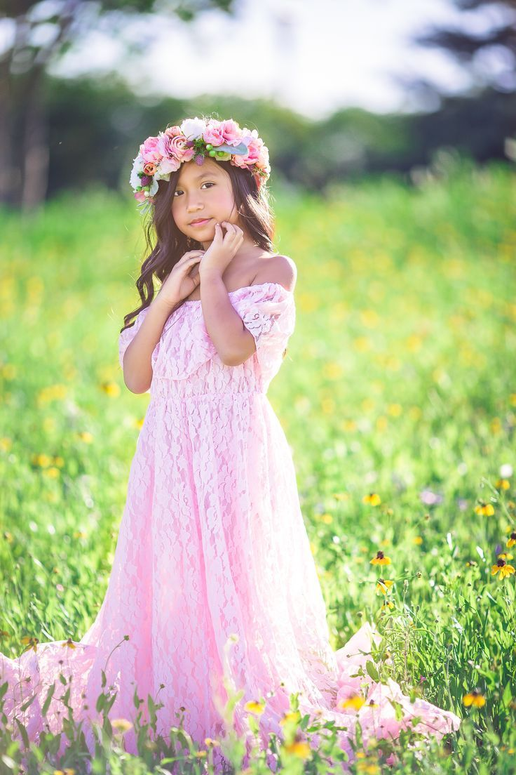 Ethereal off shoulder pink lace maxi dress for a flower girl dress