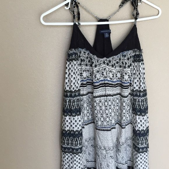 High low maxi dress Adorable loose fitting maxi. The top part is distressed (came that way) and has adjustable straps! American Eagle Outfitters Dresses Maxi