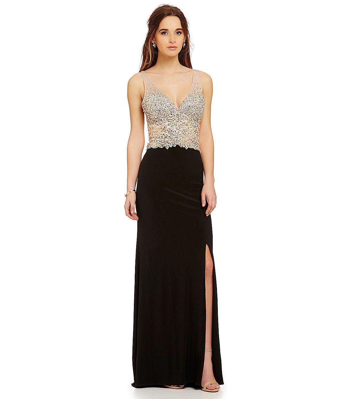 Morgan & Co. Double V-Neck Illusion Beaded Dress | Dillards.com ...