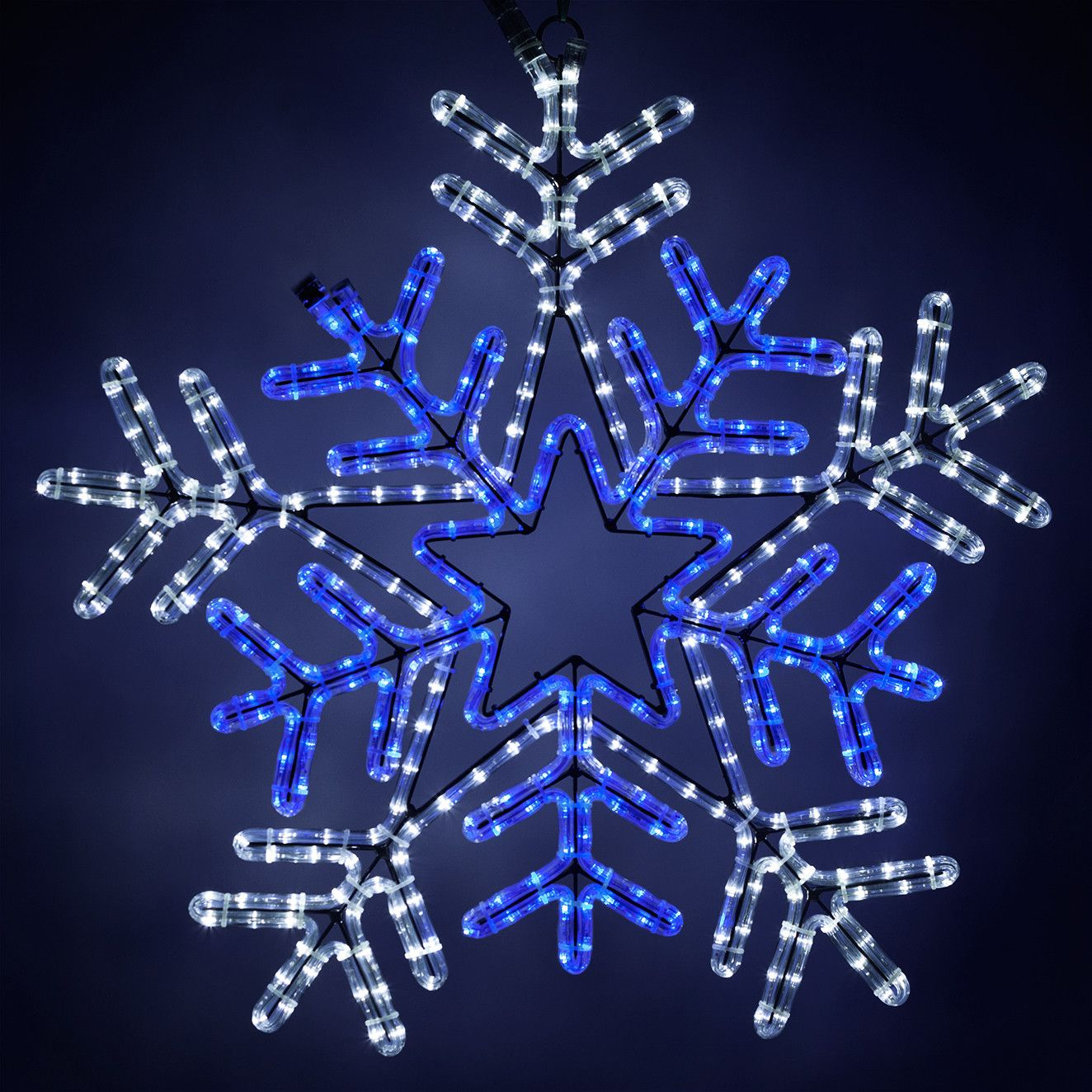 Led Snowflake With Blue Center Blue And White Lights Christmas Lights Etc Blue And White Led Christmas Lights Lights