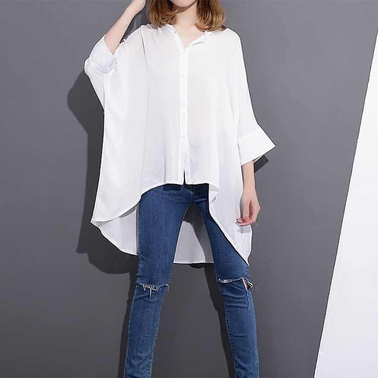 Women's White Shirt Spring and Autumn New 2017 Casual Three Quater Sleeve White Black Shirt Tops