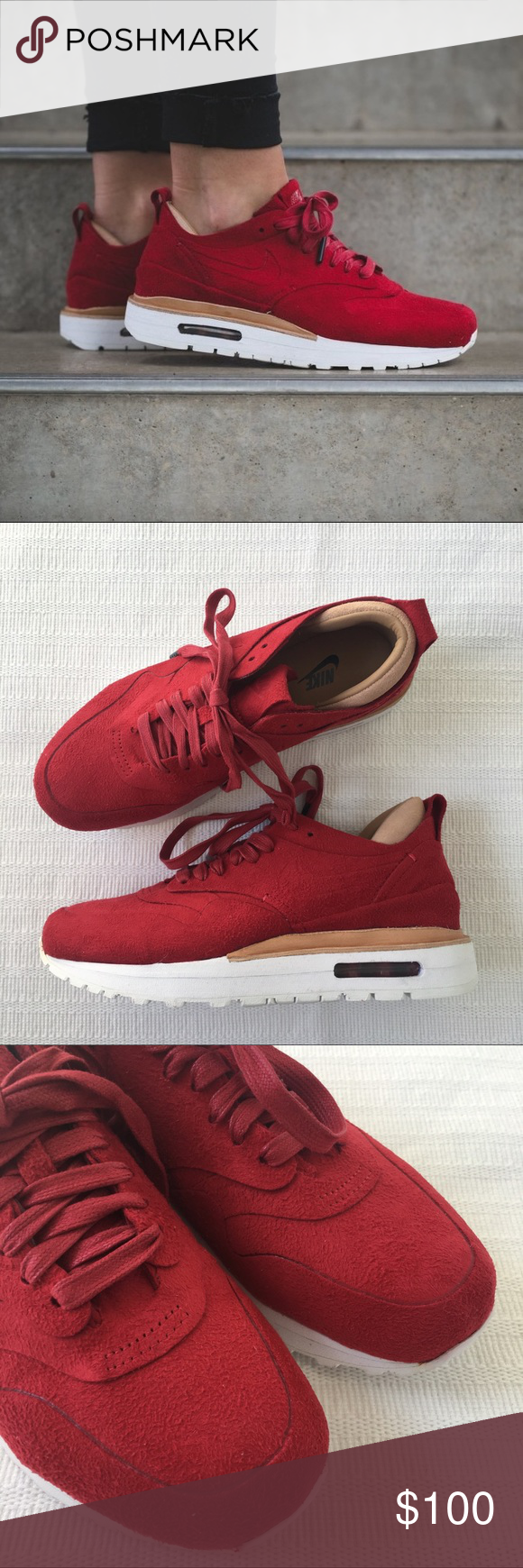 Shop Women's Nike Red size 10 Sneakers at a discounted price at Poshmark.  Description: Women's Nike Air Max 1 Royal Red Sneakers features a synthetic  suede ...