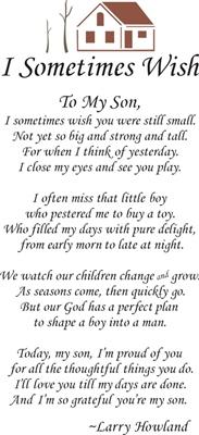 I Sometimes Wish To My Son... 11.5 x 24'' Stencil #littleboyquotes