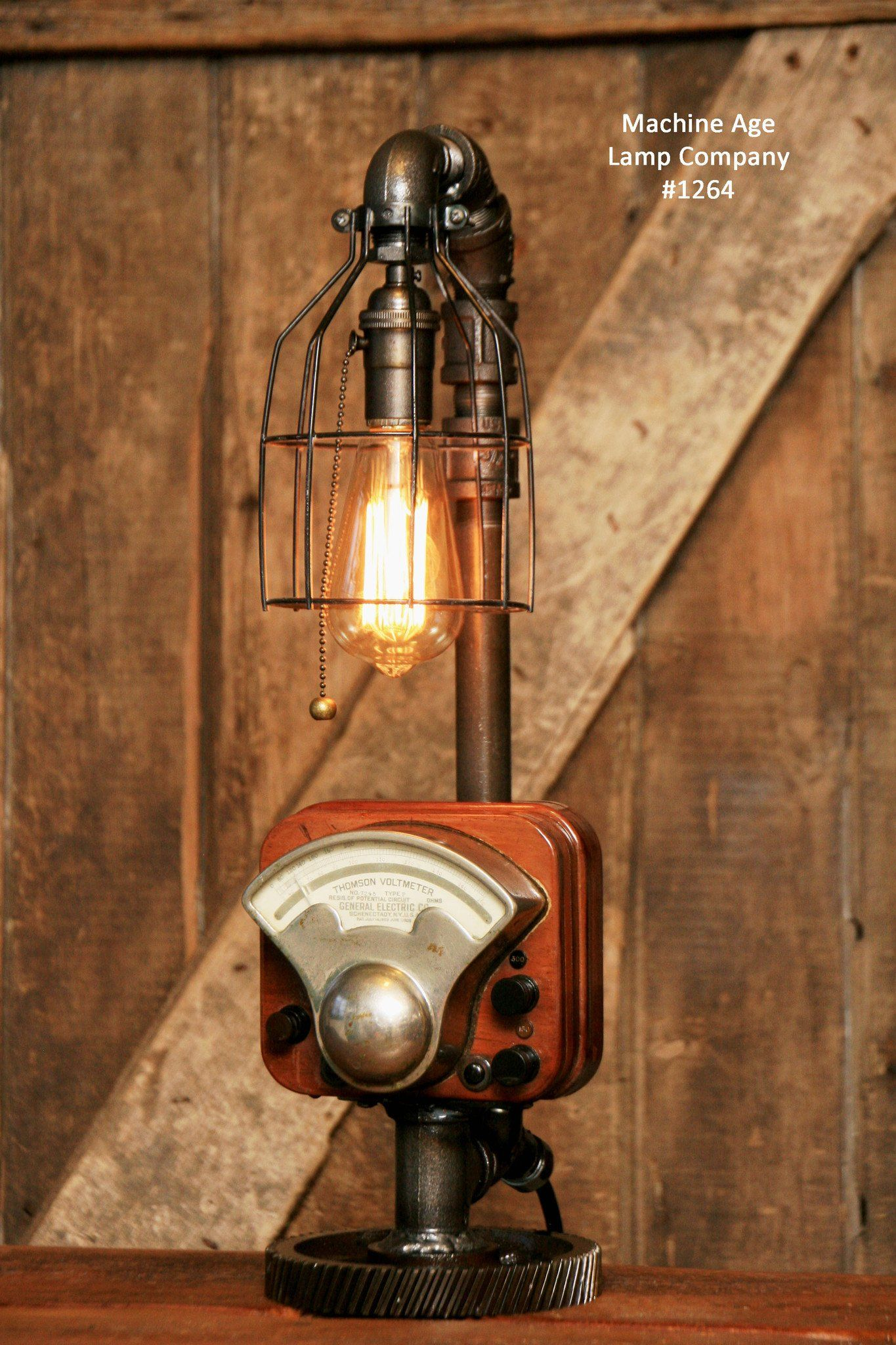Steampunk Industrial Antique Electrial Meter Gear Lamp #1264 Sold