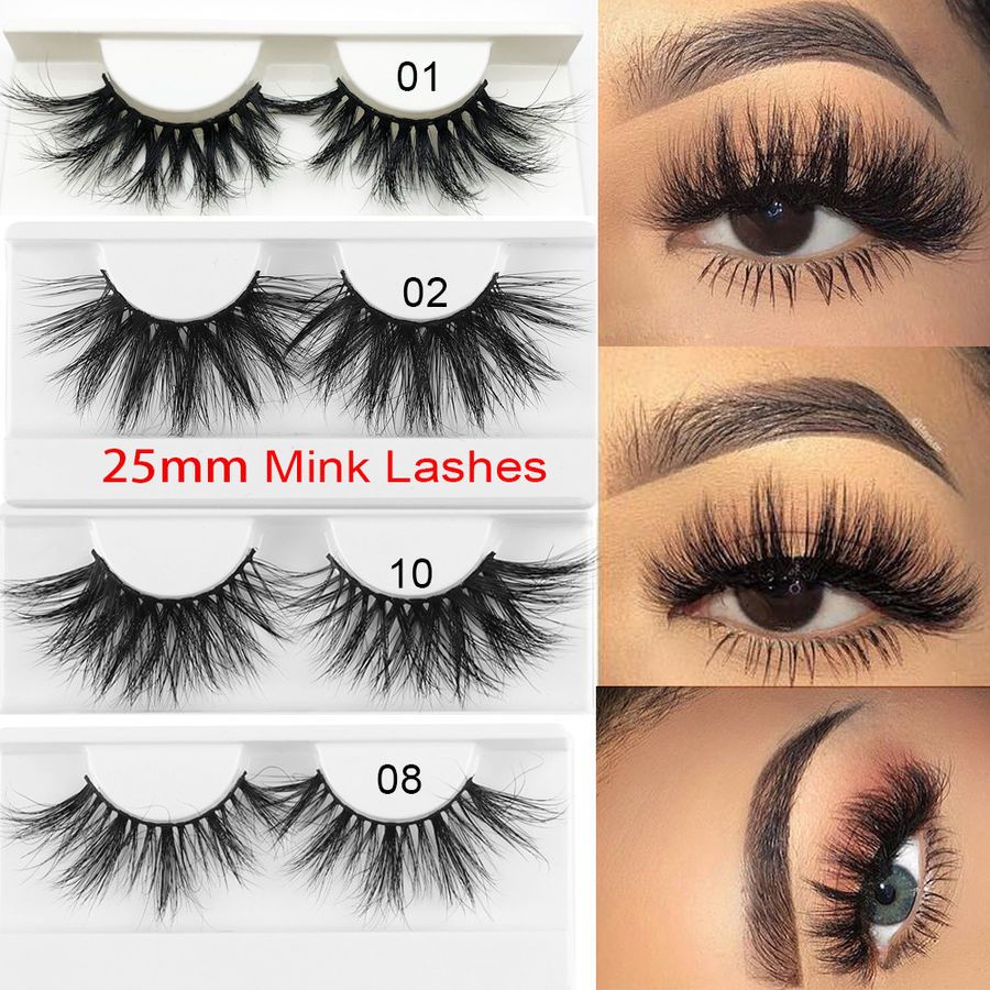 f170a80ee45 SKONHED 3D Soft Mink Hair False Eyelashes Dramtic Thick Wispies Long Lashes  25mm#Hair#False#Eyelashes