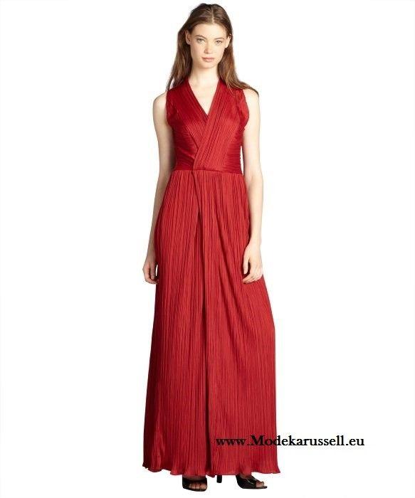 Rotes V Dekollette Abendkleid Lang | Rote Kleider online kaufen ...