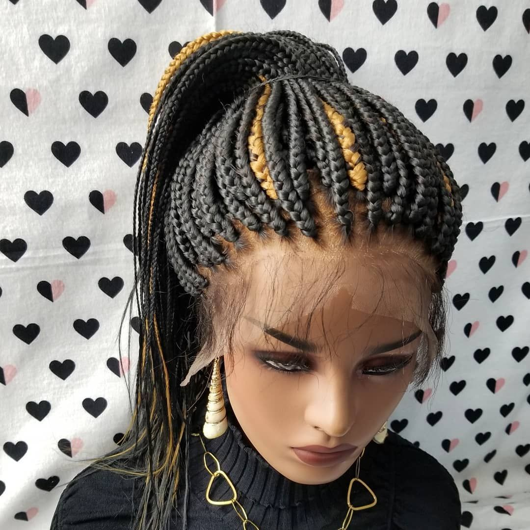 Box Braids Braided Full Lace Wig Color 1b/27 18 inches
