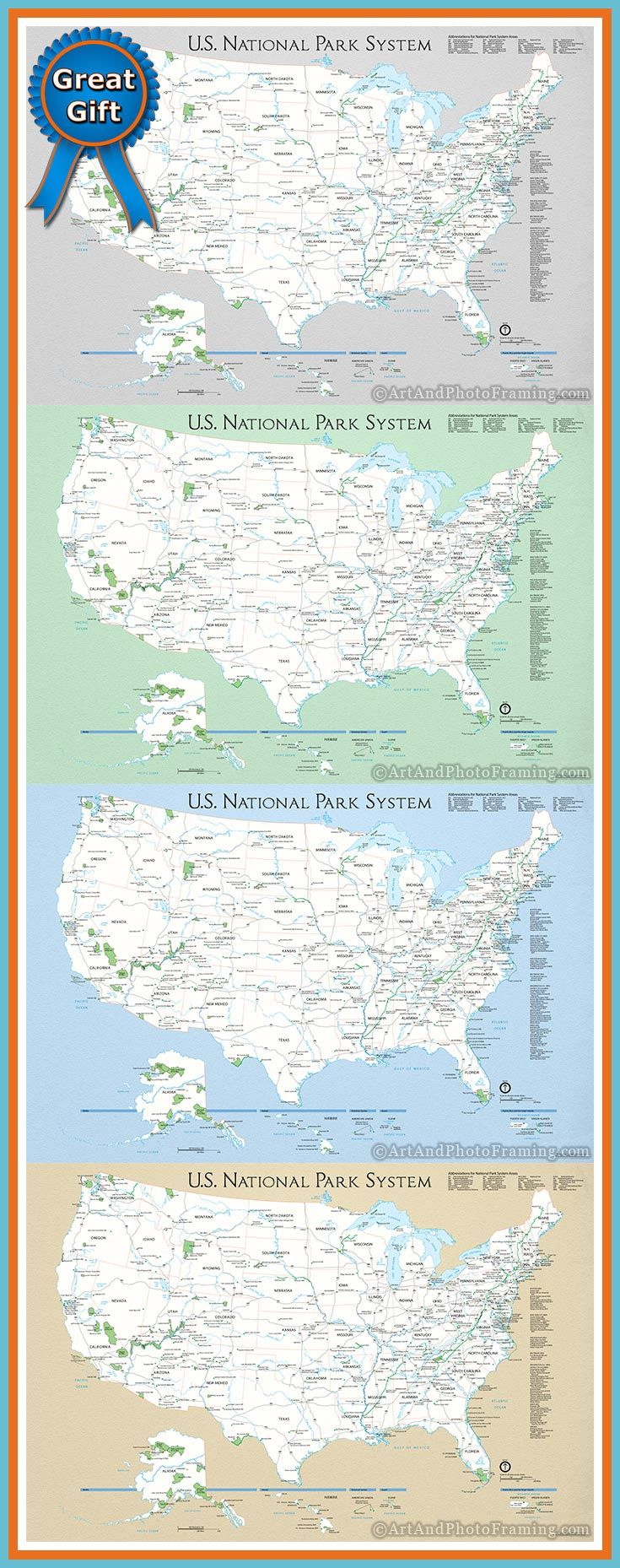 Background Colors For The National Park Service Push Pin Travel - Map of us national parks poster