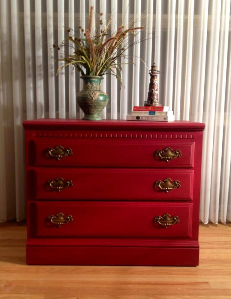 Ethan Allen Dresser Painted Red By Twice Loved Furniture