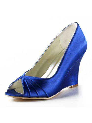 Ep2009 P Toe Wedge Ruching Satin Wedding Evening Party Shoes Http