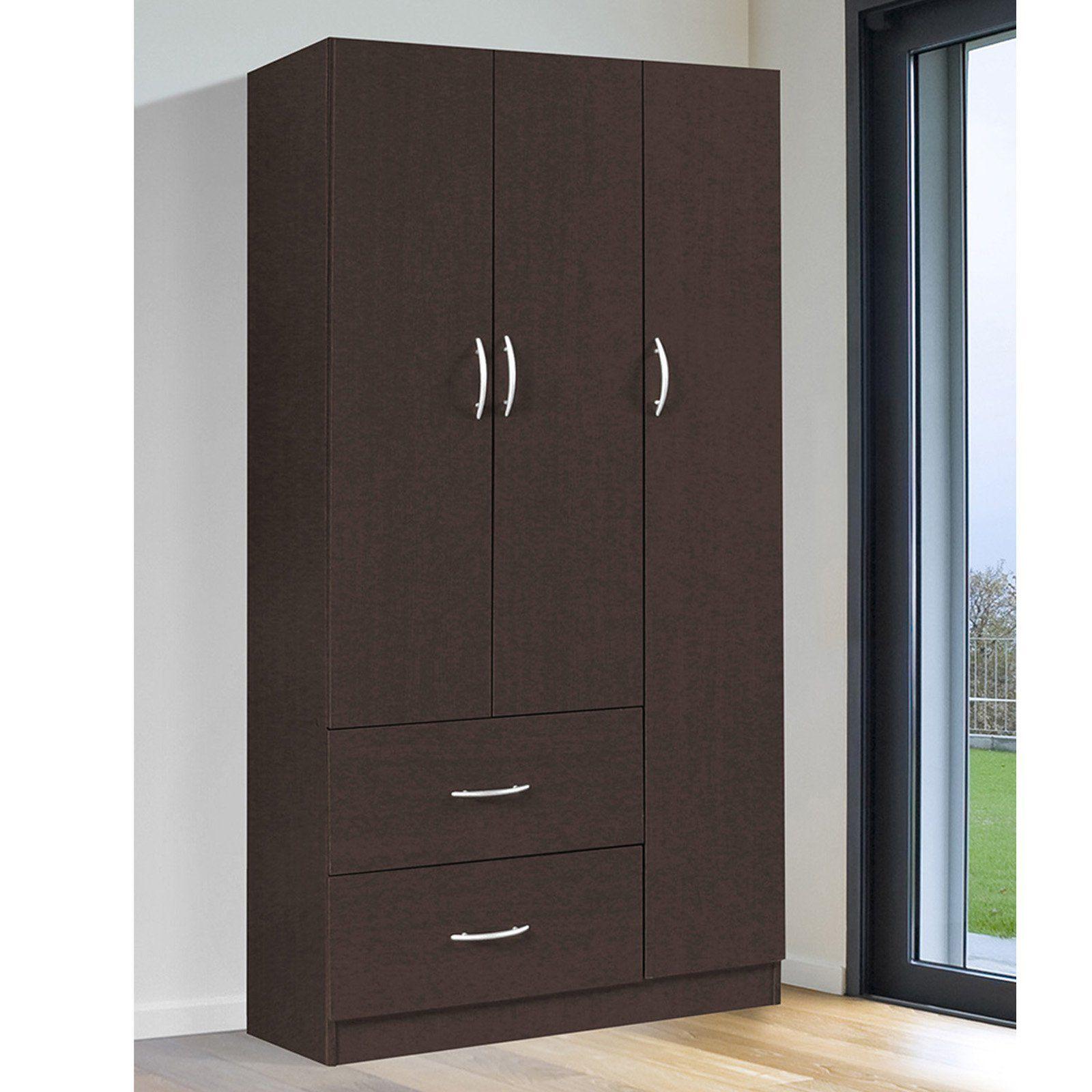 Home Source Industries Shauna 3 Door Wardrobe   RLN3201H ESPRESSO