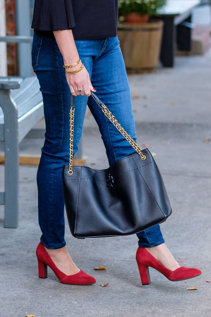 27d018d4c35 Cole Haan Kinslee red suede pumps + Tory Burch McGraw Chain Shoulder  Slouchy Tote