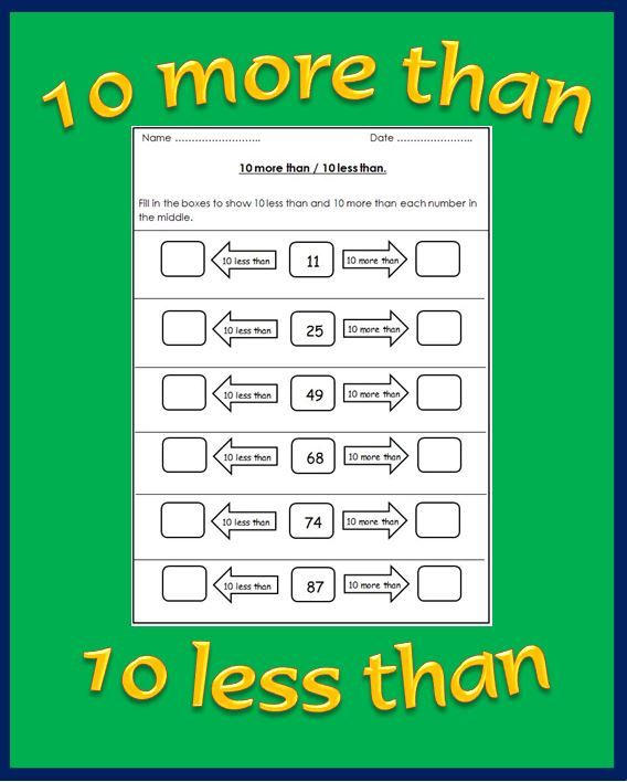 Free 10 More Than Less Than Worksheets Up To 120