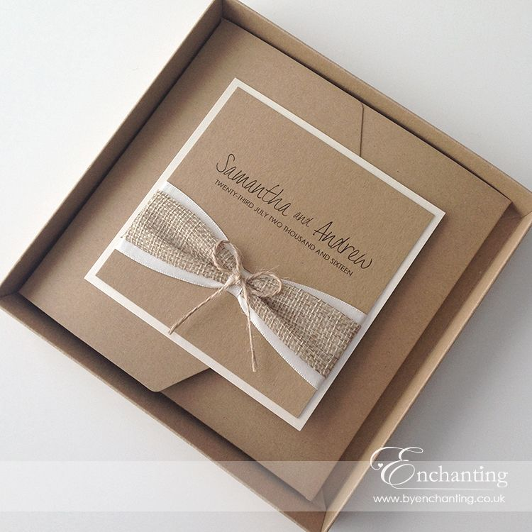 box wedding invitations online%0A Rustic Hessian Wedding Invitations   A twist on the Tinkerbell Collection   Boxed Pocketfold Invitation