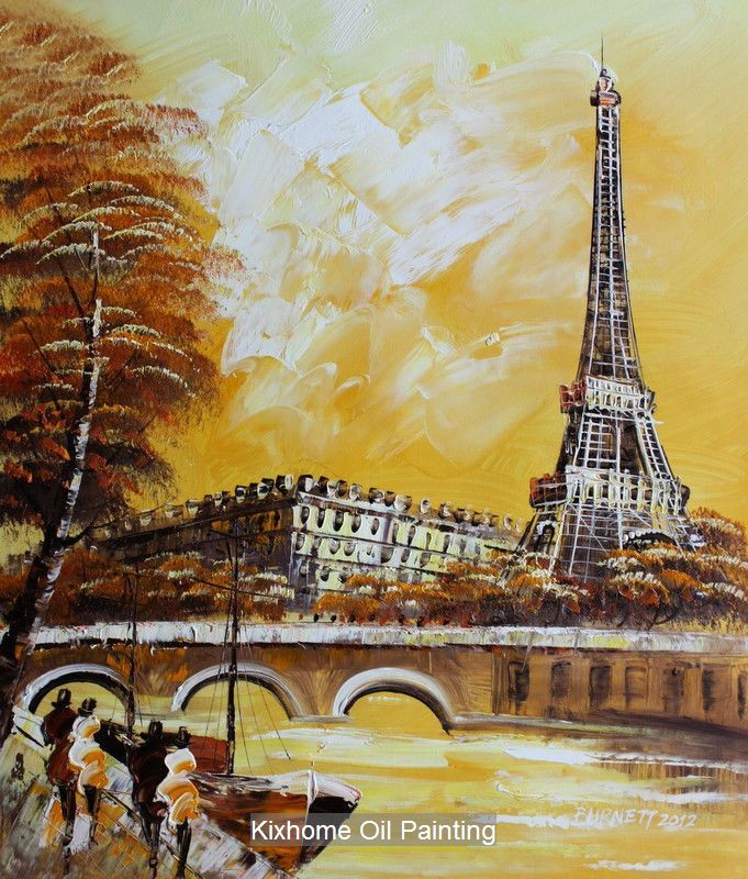 oil paintings of the eiffel tower in yellow background | ... oil-painting-replica-wall-arts-deco-Eiffel-tower-in-paris-yellow