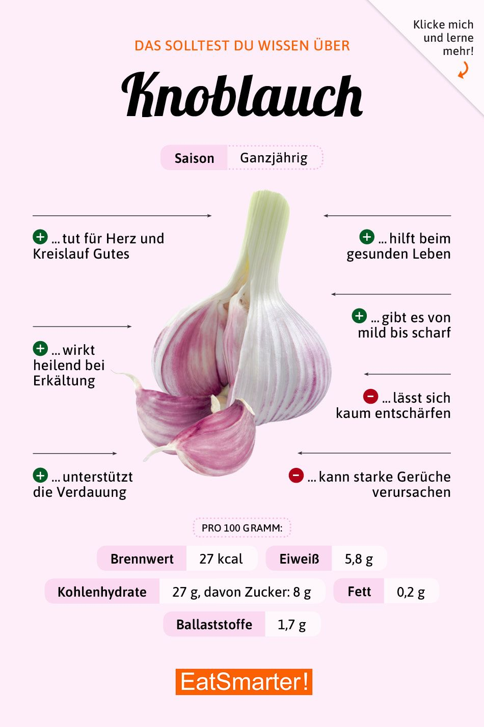 Das solltest du über Knoblauch wissen! #ernährung #infografik #knoblauch #workoutfood