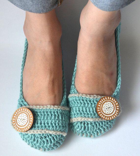 crochet slippers house shoes ballet flats robin s egg linen