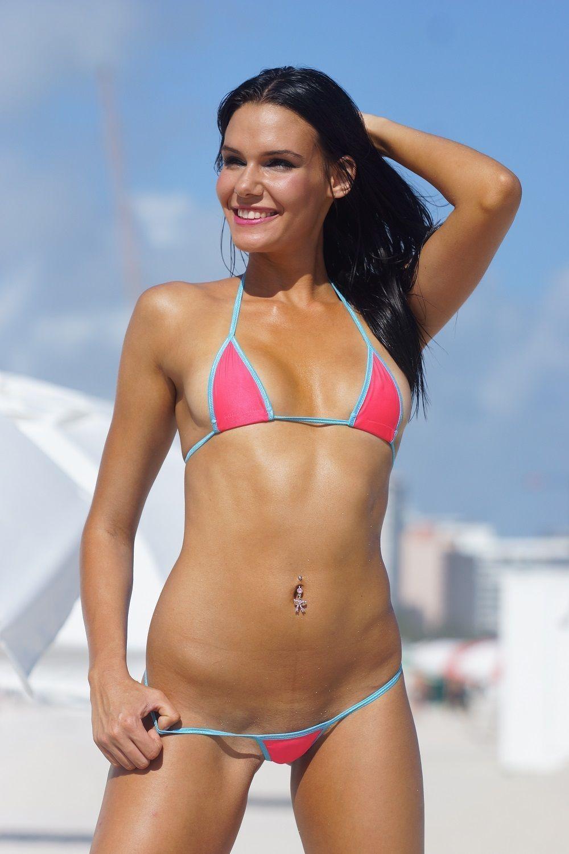 Bitsy'S Bikinis Solid Peach/Blue Micro Gstring Bikini 2Pc Extreme Mini  Thong Top