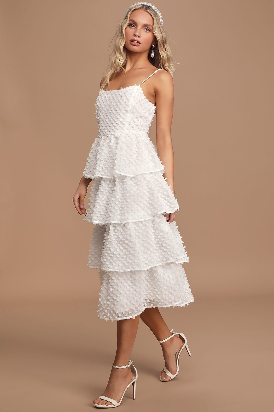 Flirting With You White Tiered Pom Pom Midi Dress In 2020 Midi Ruffle Dress White Tiered Dress Dresses [ 1680 x 1120 Pixel ]