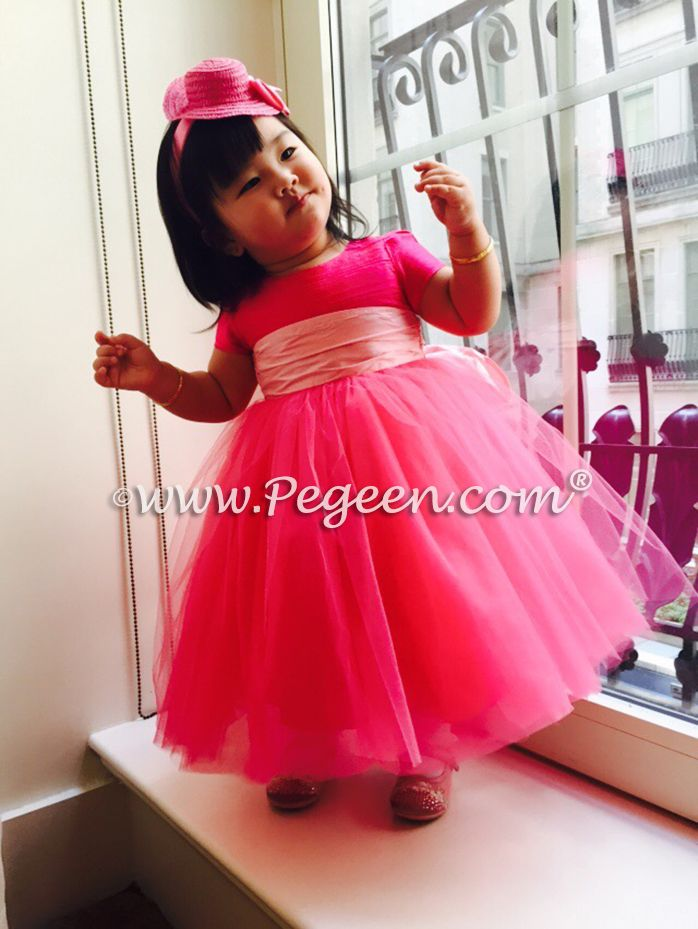 9570e3ac60 Hot Pink Custom Flower Girl Dress with tulle for a 1st birthday - delivered  to Doha