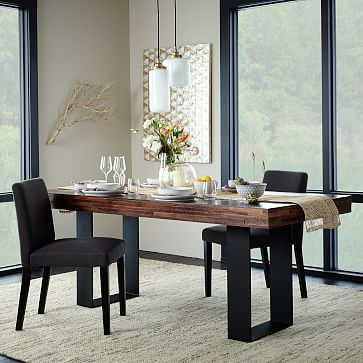 staggered wood dining table westelm dining room pinterest rh pinterest com