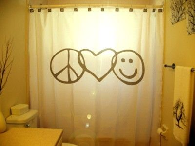 Peace Love Happiness Shower Curtain Inspirational Motivational