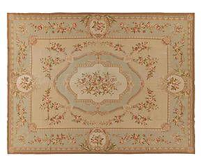 Tappeto Aubusson in lana a mezzo punto Rose 275x366 cm