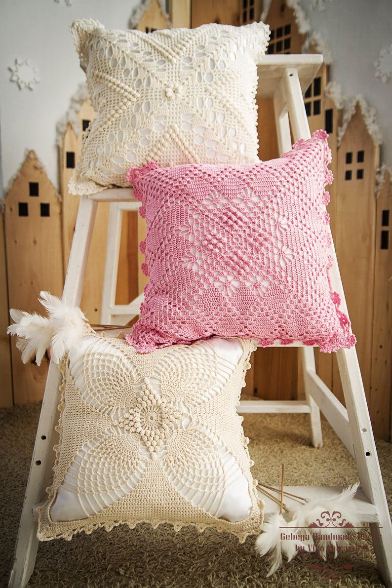Granny Square Pink Crochet Pillow Cushion Cover With Insert Nice