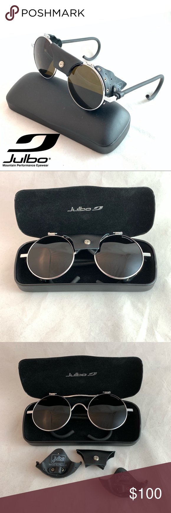 cdba55e771cc EUC Julbo Vermont Classic Glacier Sunglasses Julbo Vermont Classic Glacier  Black Leather Chrome Sunglasses Made