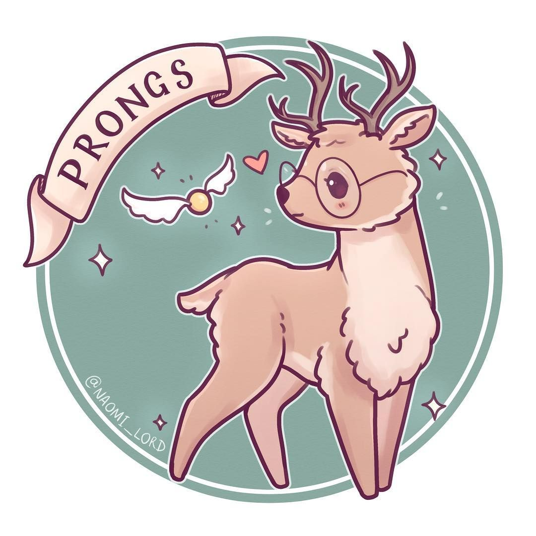 """Naomi Lord on Instagram: """"Chibi Prongs! ✨🦌✨ do you think james needs glasses as a stag or his sight is fixed? 🤔✨ (Redraw of a Marauders series from earlier this year…"""""""
