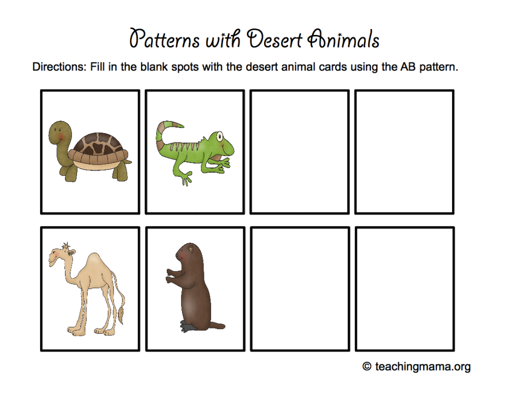desert animal printables worksheets printables for pre k to second grade desert animals. Black Bedroom Furniture Sets. Home Design Ideas