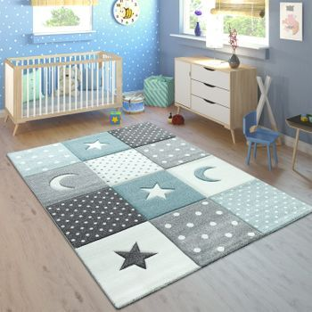 Kinderteppich Karo Herzen Sterne Blau Grau Bild 1 Teppich Rosa Kinderteppiche Kinderzimmer Teppich Madchen