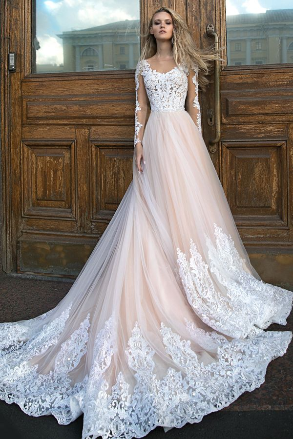 [258.59] Alluring Tulle Jewel Neckline A-line Wedding Dresses With Beaded Lace Appliques & Beadings