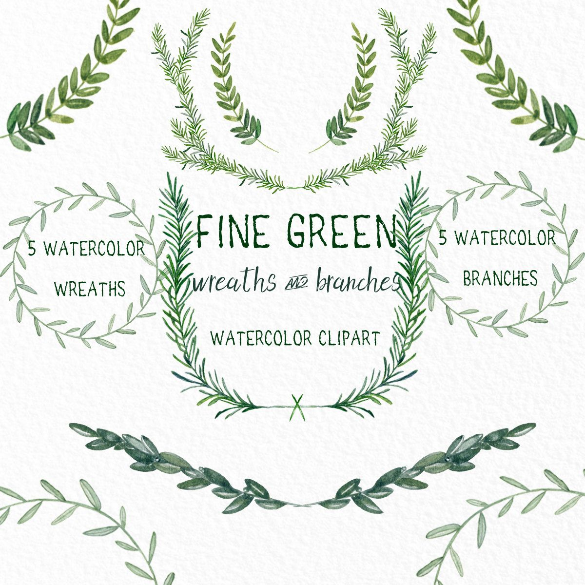 Green Wreaths And Branches Watercolor Clipart Peinte A La Main