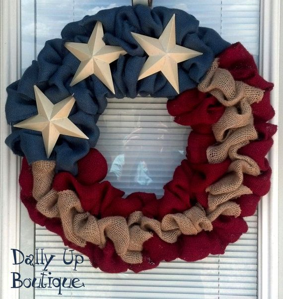 4th of July Burlap Wreath - Natural, red, and Blue Burlap Wreath, Rustic Wreath, Patriotic, Flag Wreath , Independence Day, Door Wreath via Etsy | Dally Up Boutique