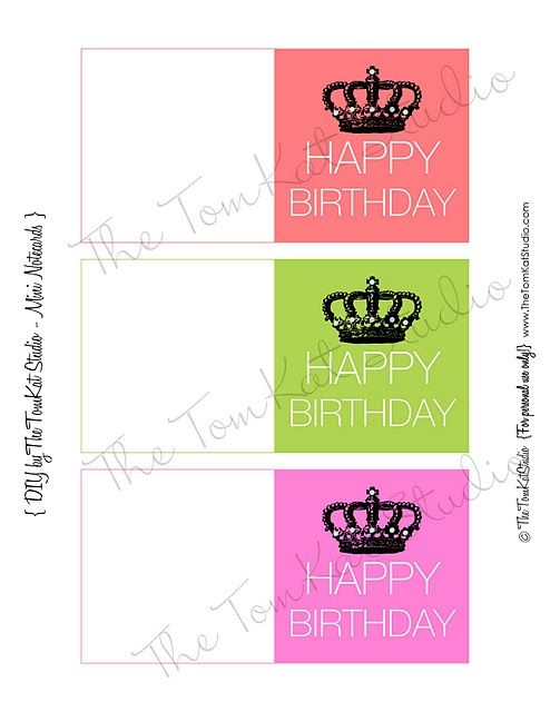 Free Printable Happy Birthday Mini Notecards The Tomkat Studio Blog Birthday Card Printable Note Cards Birthday Card Template