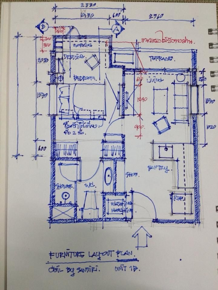 Sketch Design Furniture Layout Plan CEIL Condominium By Sansiri Project With My Lamy Pen