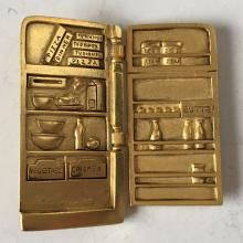 Gold plated satin finish REFRIGERATOR shape with open door heavy pin brooch, signed A.J.C.