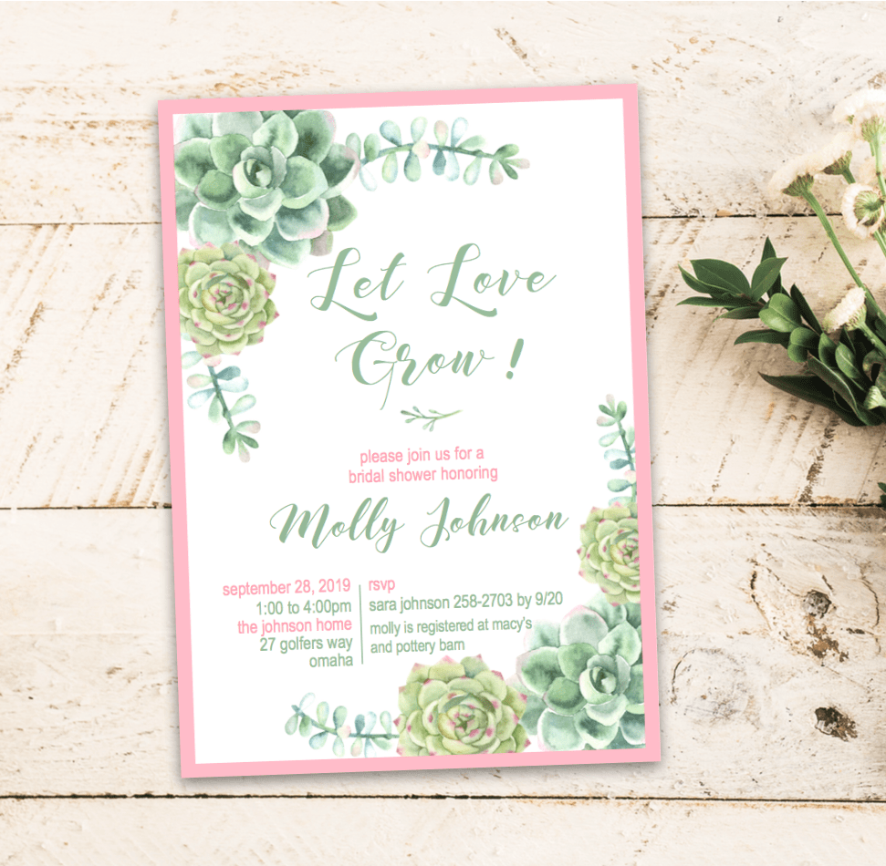 Succulent Bridal Shower Invitations  Let Love Grow