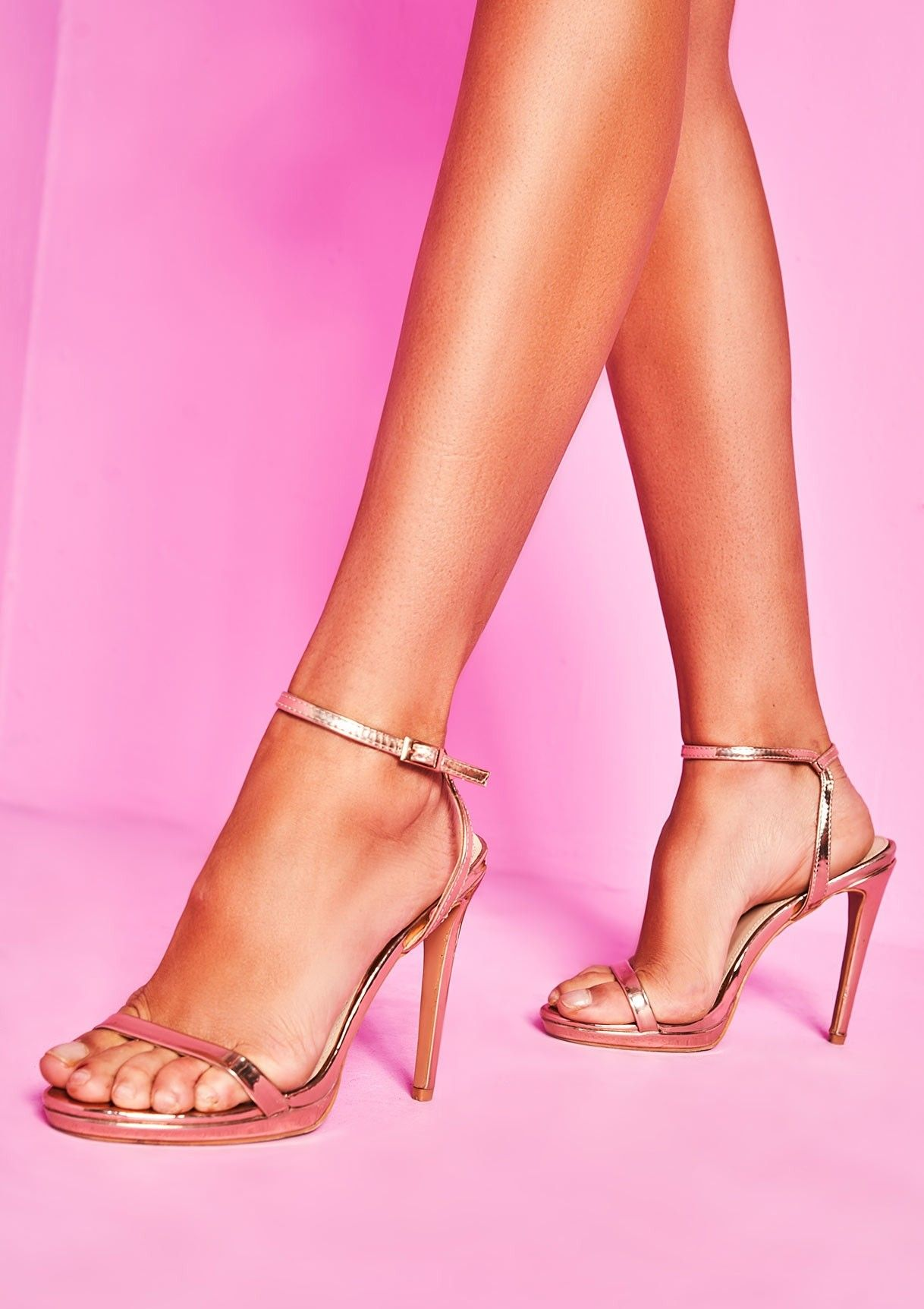 54706047b6dba Davina Rose Gold Patent Ankle Strap High Heels in 2019 | ⚡ comin ...
