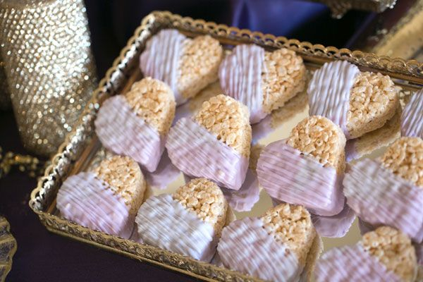 Cute Idea for bridal shower snacks too, Rice crispies treats are fast and easy to make, and inexpensive. eggplant gold and ivory wedding color palette