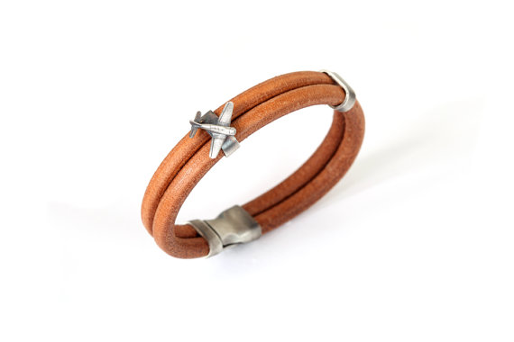 Airplane Leather Bracelet Sterling Silver Airplane by TomerM