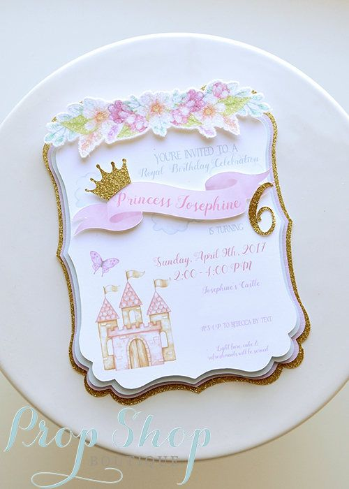 Girls Watercolor Princess Castle Birthday Invitation